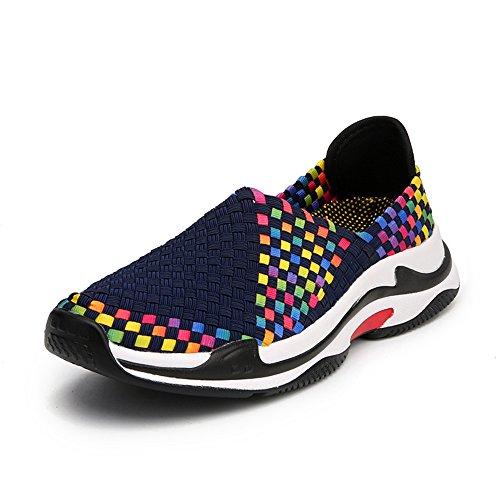 Lightweight Slip Comfort FZDX On Sneakers Women BLUE Walking Fashion Shoes Handmade Woven Shoes 1808 wwqR0T