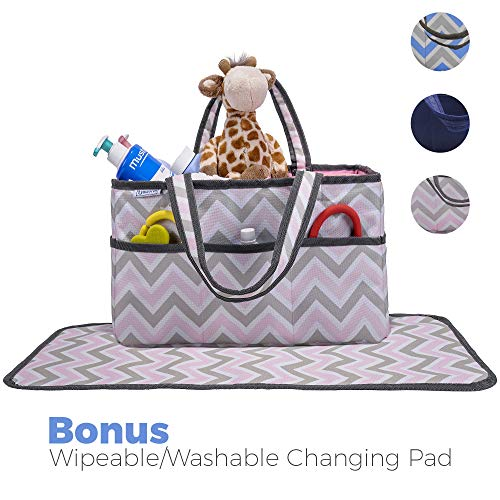 Diaper Caddy, Nursery Organizer: Pink and Grey Chevron, Best