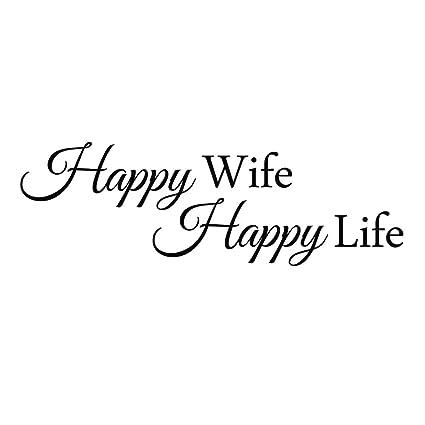 Amazon.com: ZSSZ Happy Wife Happy Life - Vinyl Wall Decal ...
