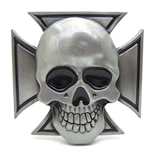 Mens Gothic Punk Skull Iron Cross Belt Buckle Boucle De Ceinture