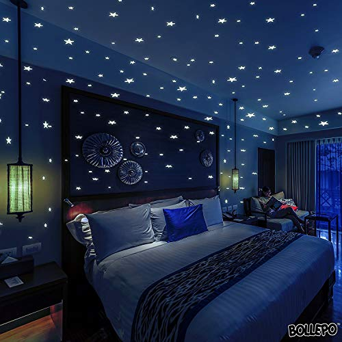 BOLLEPO Glow in The Dark Stars and Dots 332 3D Wall Stickers for Kids Bedroom and Room Ceiling Gift Beautiful Glowing Wall Decals + Stars Constellations ()