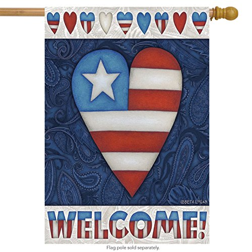 Patriotic Heart Welcome House Flag Primitive 4th of July 28