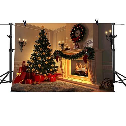 Christmas Tree Theme Xmas Stove and Sock Fireplace Gift Blanket Pillow Background Santa Reindeer Garland Christmas Ball Xmas Party Photograhy Backdrop 7x5FT