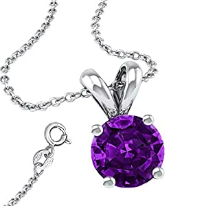 It's Sterling Silver 925 Synthetic Amethyst CZ 2.00 Carat Round Nekclace with Pendant and 18 Inch Rolo Chain