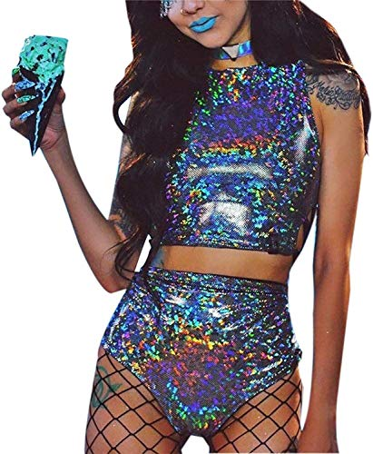 Women Rave Crop Top & Booty Shorts Bottoms Sexy Swimsuit Metallic Hologram Outfit Large