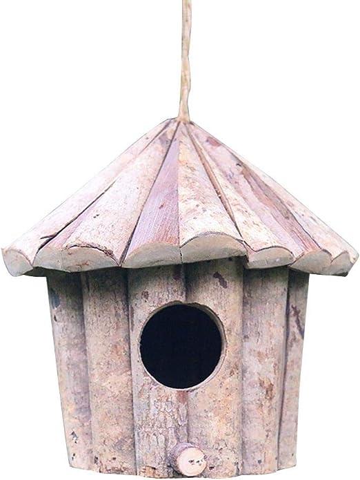 Kitabetty Casa de pájaros de Madera Hecha a Mano, Madera ecológica Agujero Redondo Pájaro Redondo Nido Artesanía Sólida pajarera antiséptica para jardín Decoración/Lugar de Ocio para pájaros: Amazon.es: Productos para mascotas