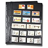 PVC Collector Stamp Pages, 10pcs/lot Black Not Include Cover Inners Double Sided Loose Leaf Stamp Pages, Storage Album Pages Coin Cards Holders for All Philatelic Items Postacards - 21.5x28cm