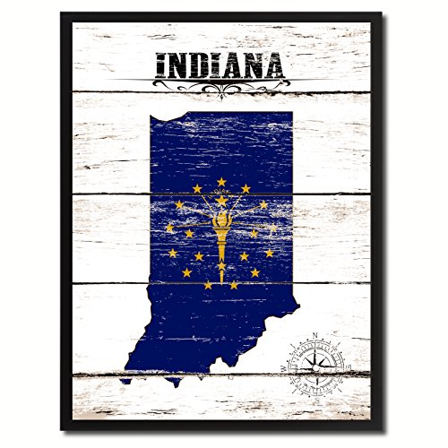 (Indiana State Vintage Flag Canvas Print Black Picture Frame Gift Ideas Home Decor Wall Art Decoration, 13