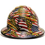 HardHatGear Custom Hydro Dipped VENTED Full Brim Hard Hat - 'Don't Tread on Me' w/ American Flag - Made in USA