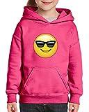 Xekia Emoji with Sunglasses Hoodie For Girls and Boys Youth Kids Medium Azalea Pink