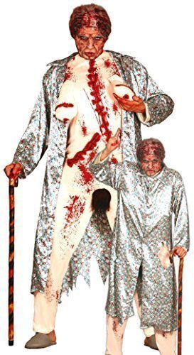 (Mens Zombie Flasher Old Granny Rude Lady Halloween Stag Do Fancy Dress Costume Outfit)