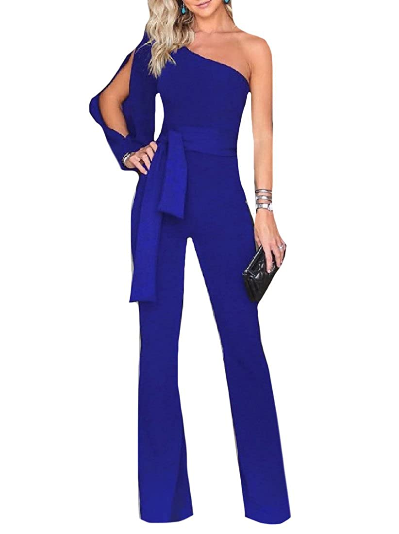 Whitive Women Overall Strappy Formal Jumpsuit One Shoulder Wide Leg Pants