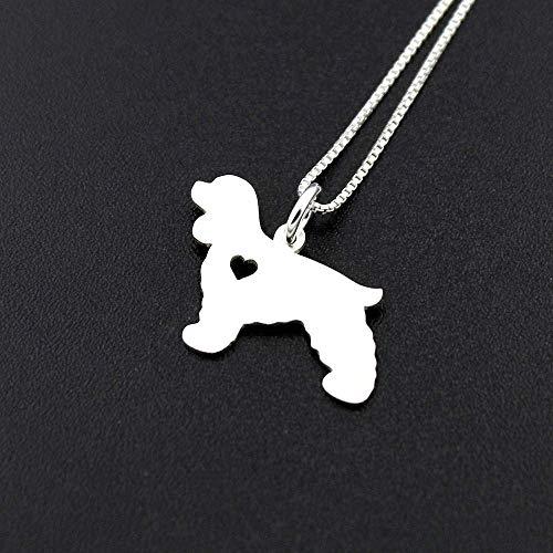 Cocker Spaniel necklace sterling silver dog breeds pendant w/Heart - Love Pet Jewelry Italian chain Women Best Cute Gift Personalized