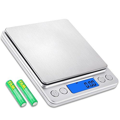 Digital Kitchen Scale, maxin Highly Accurate Multifunctional Cooking Food Scale with Back-Lit LCD Display, 500g/ 0.01g Mini Pocket Jewelry Scale with Tare, PCS Functions. (Sliver)