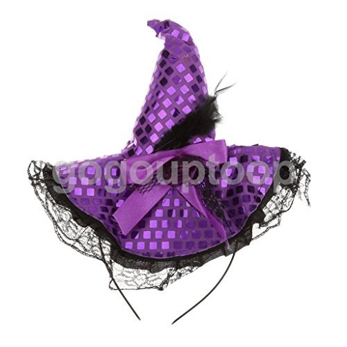 UNAKIM --Witch Hat Headband Halloween Party Fancy Dress Witches Costumes Accessory