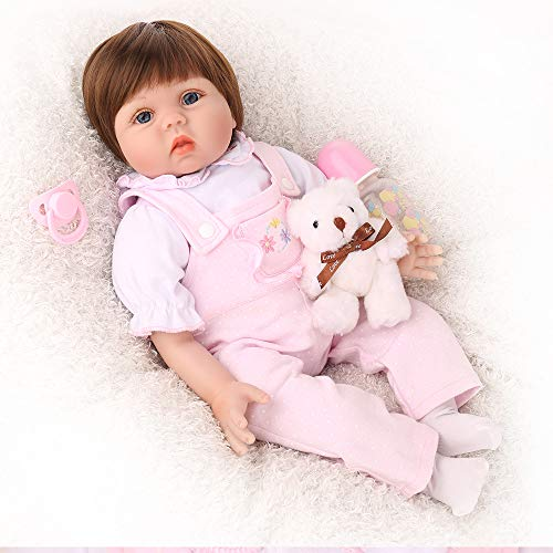 CHAREX Silicone Reborn Baby Dolls, 22 inch Handmade Realistic Baby Doll for Girls, Soft Vinyl Lifelike Weighted Doll Toys with Bear Set, Gifts/Toys for Kids Age 3+, EN71 and ASTM F96 from CHAREX