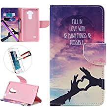 LG G4 Stylus LS 770 Case, ISADENSER Premium Mobile Cover Protect Skin Leather Cases Covers With Card Slot Holder Wallet Book Design For LG G Stylo LS770, Hand Love