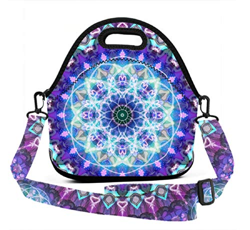 Neoprene Lunch Tote - Psychedelic Mandala Floral - Reusable Insulated Thermal Lunch Bag Waterproof Lunch Box Carry Case Handbags with Zipper for School/Office/Travel/Gym
