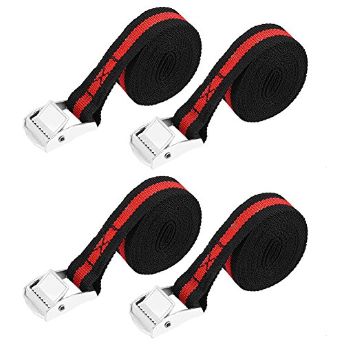 - 8ft 1 inch Tie Down Cargo Straps, Keenso Car Motorcycle Tie Down Straps Lockable Reinforced Cargo Strap Luggage Lashing Ratchet Belt Buckle (4 pcs)