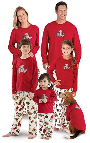 PajamaGram Vermont Teddy Bear Christmas Matching Family Pajamas, Red, Men (Family Pajamas Sets Matching)