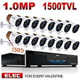 ELEC 16CH 960H HDMI DVR Security Camera System Home CCTV Alarm Video Recorder Surveillance Kit, IR-CUT Night Vision 16PCS 1500TVL Bullet Cameras,Mobile Remote Access/Live Viewing,NO Hard Drive