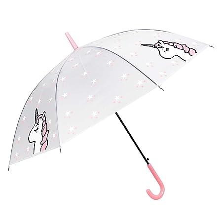 Paraguas Largo Transparente - Paraguas Transparente de Unicornio - a Prueba de Viento ya Prueba de Lluvia, patrón de Estrellas de la Moda, Mango en J, ...