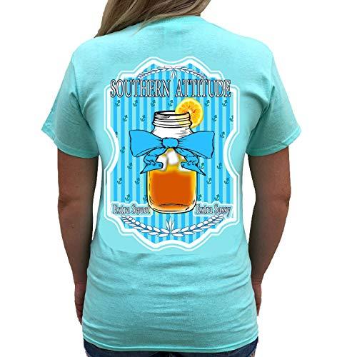 Southern Attitude Sweet Tea Sea Foam Green Short Sleeve Shirt (X-Large)