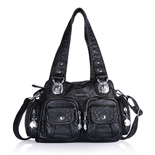 Angel Barcelo 3 Mini Handbags Women Purse PU Leather Top Zippers Multi Pockets Shoulder Bags … (Black) ()