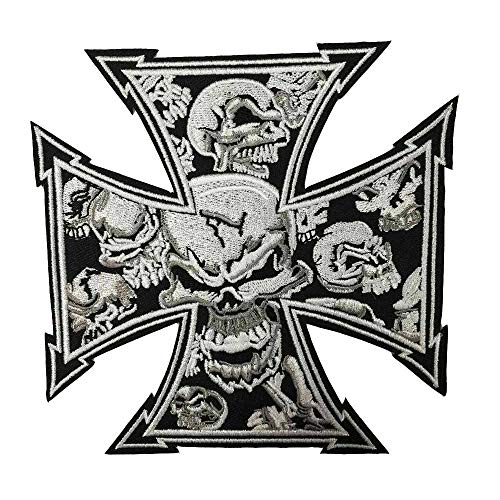 Skull Tattoo Biker Cross Chopper Iron On Embroidered Patch, Sewing Label Punk Biker Patches Clothes Stickers Apparel Accessories Badge
