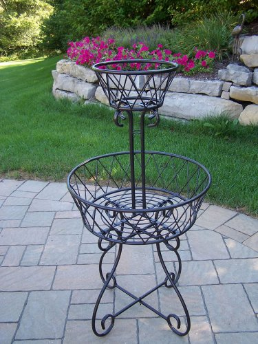 Oakland Living 2-Tier Basket Planter, Black by Oakland Living