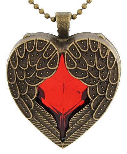 DaisyJewel Stylish Bronzed Red Heart Angel Wings of Love Ball Chain Pendant Necklace (Charm Nouveau Ruby)