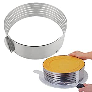 MyLifeUNIT Stainless Steel Mousse Mould Layer Cake Slicer, Adjustable