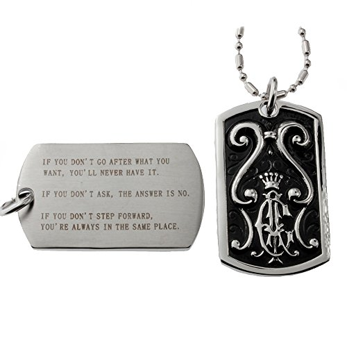 R.H. Jewelry Stainless Steel Inspirational Quotes Dog Tag Pendant for Men and Women