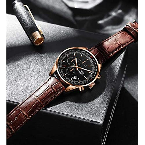 OLMECA Women's Watches Elegant Fashion Dress Sports Health Wristwatch Chronograph Date Luminous 5ATM Water Resistant Genuine Leather Band 3009