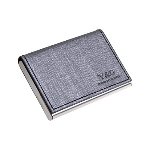 YDC05B02 Silver Grey ID Card Holder Design Black Artificial Leather Card Holder Possibly Goods With Gift Box By - Shopping Sydney Australia