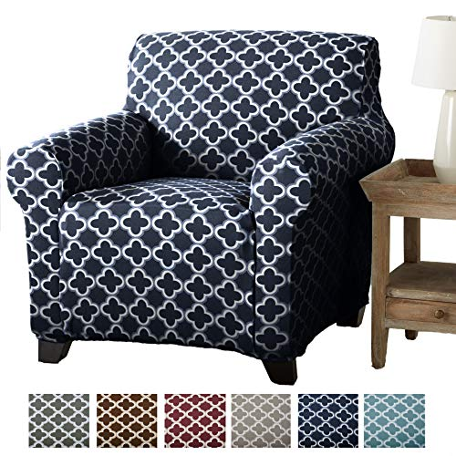 Home Fashion Designs Form Fit, Slip Resistant, Stylish Furniture Cover/Protector Featuring Lightweight Stretch Twill Fabric. Brenna Collection Basic Strapless Slipcover Brand. (Chair, Navy)