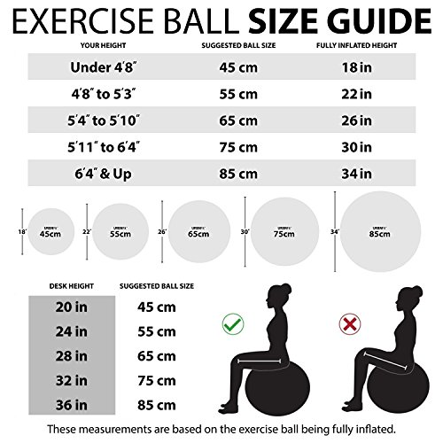 BSTPOWER Exercise Ball(45-85cm) - Non-Slip Stability Ball - Anti Burst Yoga Ball - Heavy Duty Balance Ball - Extra Thick Fitness Ball for Home, Gym, Office with Quick Pump(Office & Home & Gym) by BSTPOWER (Image #2)