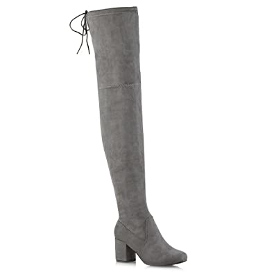 f76f8660b69 Womens Thigh High Boots Ladies Over The Knee Lace Up Long Low Mid Heel  Shoes 3