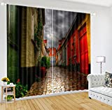 LB City Scenery Window Curtains for Bedroom Living Room,City Hollow Alley at Night Room Darkening 3D Blackout Curtains Drapes 2 Panels,42 x 84 Inches