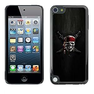 [Neutron-Star] Snap-on Series Teléfono Carcasa Funda Case Caso para Apple iPod Touch 5 [Espadas muestra del cráneo esqueleto pirata Símbolo]
