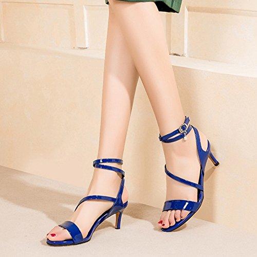 Coolcept Women Fashion Cross Strap Sandals Thin Heel Blue-6cm n41X1vOo