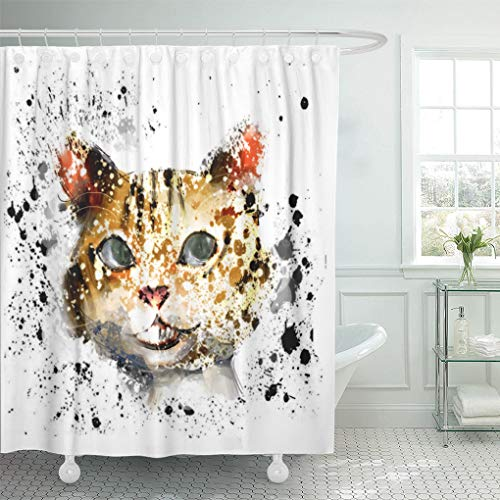 Emvency Shower Curtain Set with Hooks Polyester Fabric Cat Stair Search The Word for More Face Waterproof Adjustable 60 x 72 Inches for Bathroom]()