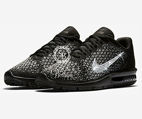 NIKE Bling, Nike Air Max Sequent 2, BLACK, Custom Nike, Bling Nike, Bedazzled by Sparkle Boutique
