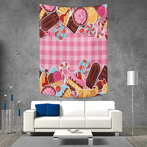 - smallbeefly Ice Cream Wall Tapestry Candy Cookie Sugar Lollipop Cake Ice Cream Girls Design Home Decorations Living Room Bedroom 70W x 84L INCH Baby Pink Chestnut Brown Caramel