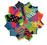 Differenttouch 12 Pairs Pack Women Low Cut Colorful Fancy Design Ankle Socks (9-11, Assorted 111)
