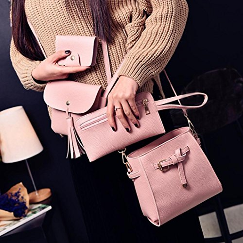 Pcs Pcs for Fashion Bag Small Wallet Coin Shoulder Set Tote Bag Zipper Holder Handbag Card HCFKJ School Pocket Clutch Girls 4 Bags Pink 4 with PU Women Leather Set Teenager Purse HqxwfS