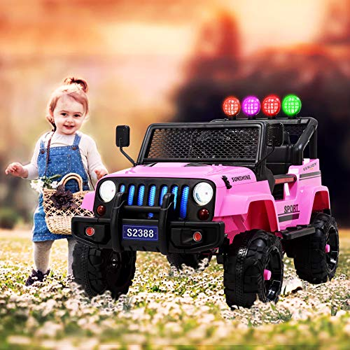 Uenjoy Electric Kids Ride On Cars 12V Battery Motorized Vehicles W/ Wheels Suspension, Remote Control, Music& Story Playing, Colorful Lights, Sunshine Model, Pink by Uenjoy (Image #5)