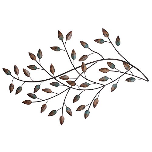 (Stratton SHD0119 Home Blowing Leaves Wall Decor, Green, Brown and Hint of)
