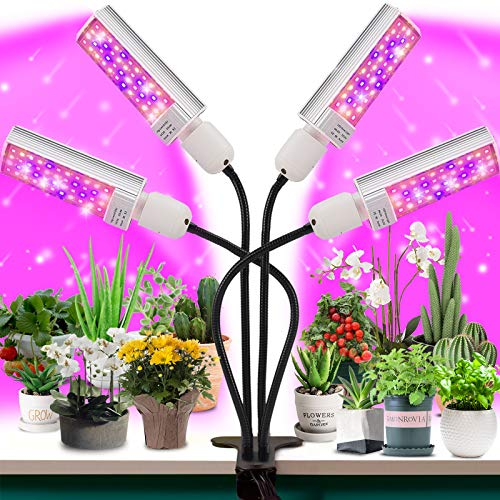LED Grow Light for Plant- 4 Head 96W Full Spectrum for Grow lamp with 176 Beads.More Stronger Adjustable gooseneck, 3/6…