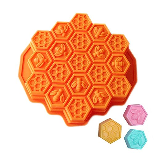 New 19-Cavity Mini Silicone Bee Honeycomb Mold Mould for Homemade Soap, Cake, Chocolate, Cookie, Candle, Pudding, and More (Color: Sent by (Homemade Halloween Treats Easy)